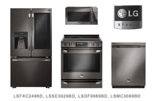 LG Studio Series Black Stainless Steel Kitchen Appliance Package