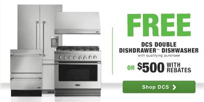 DCS premium kitchen appliance package rebate free DishDrawer dishwasher