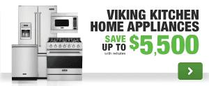 Viking luxury brand kitchen appliance package savings rebate free dishwasher