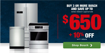 Bosch Top Quality, German Engineering, Top Brand Home Appliance Savings rebates