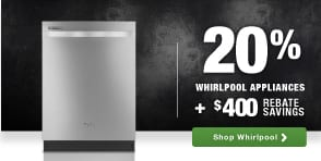 Whirlpool top brand laundry rebates Columbus Day savings