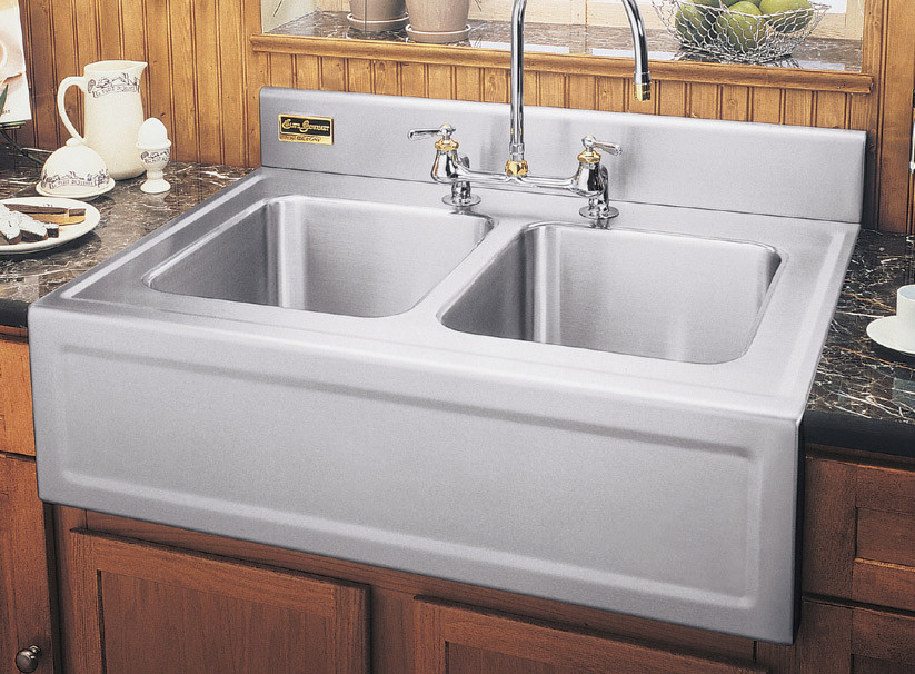 3626egdf 36 inch apron front double bowl stainless steel kitchen sink