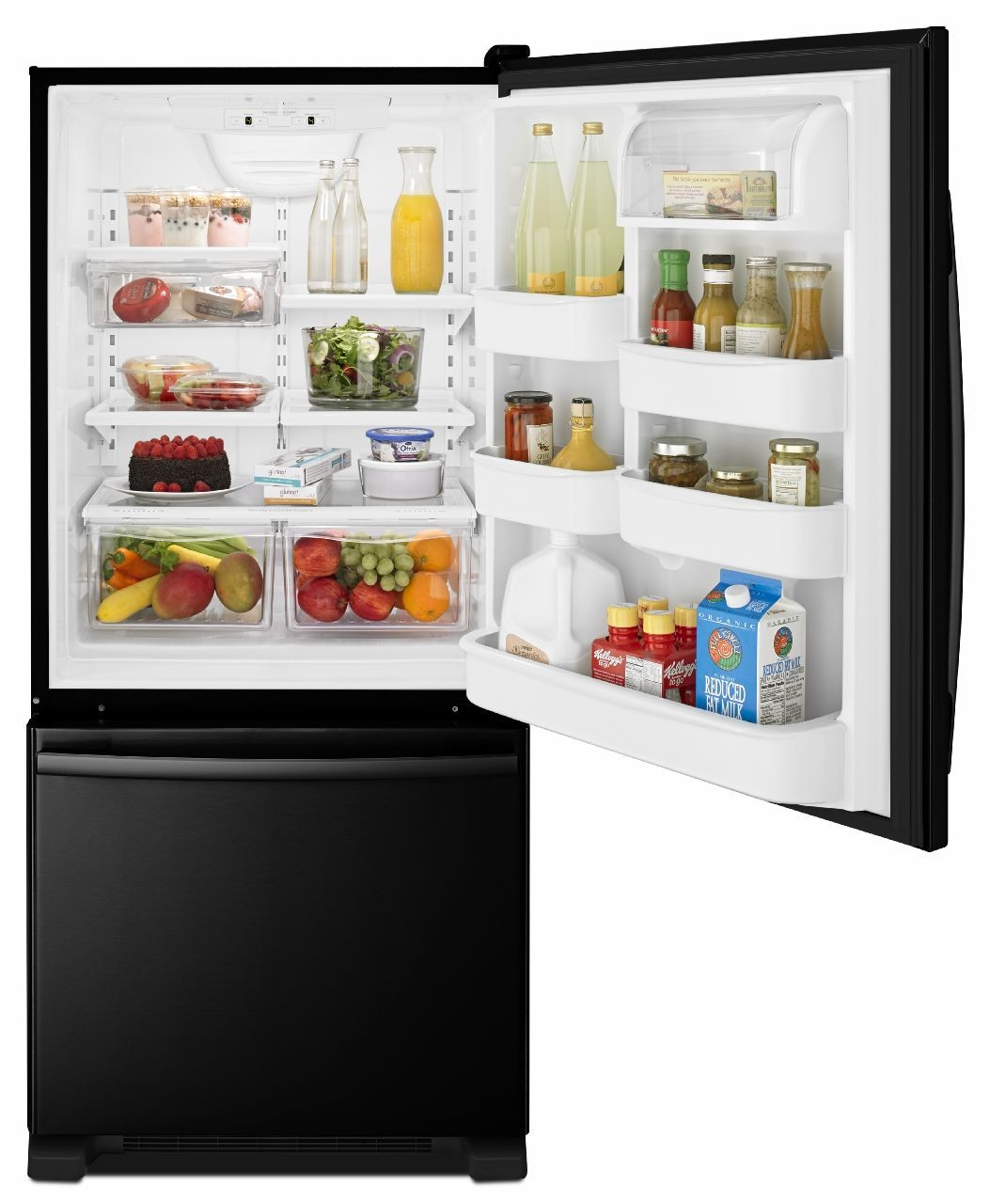 Amana ABB1924BRB 29 Inch Bottom Freezer Refrigerator with 18.5 cu. ft ...