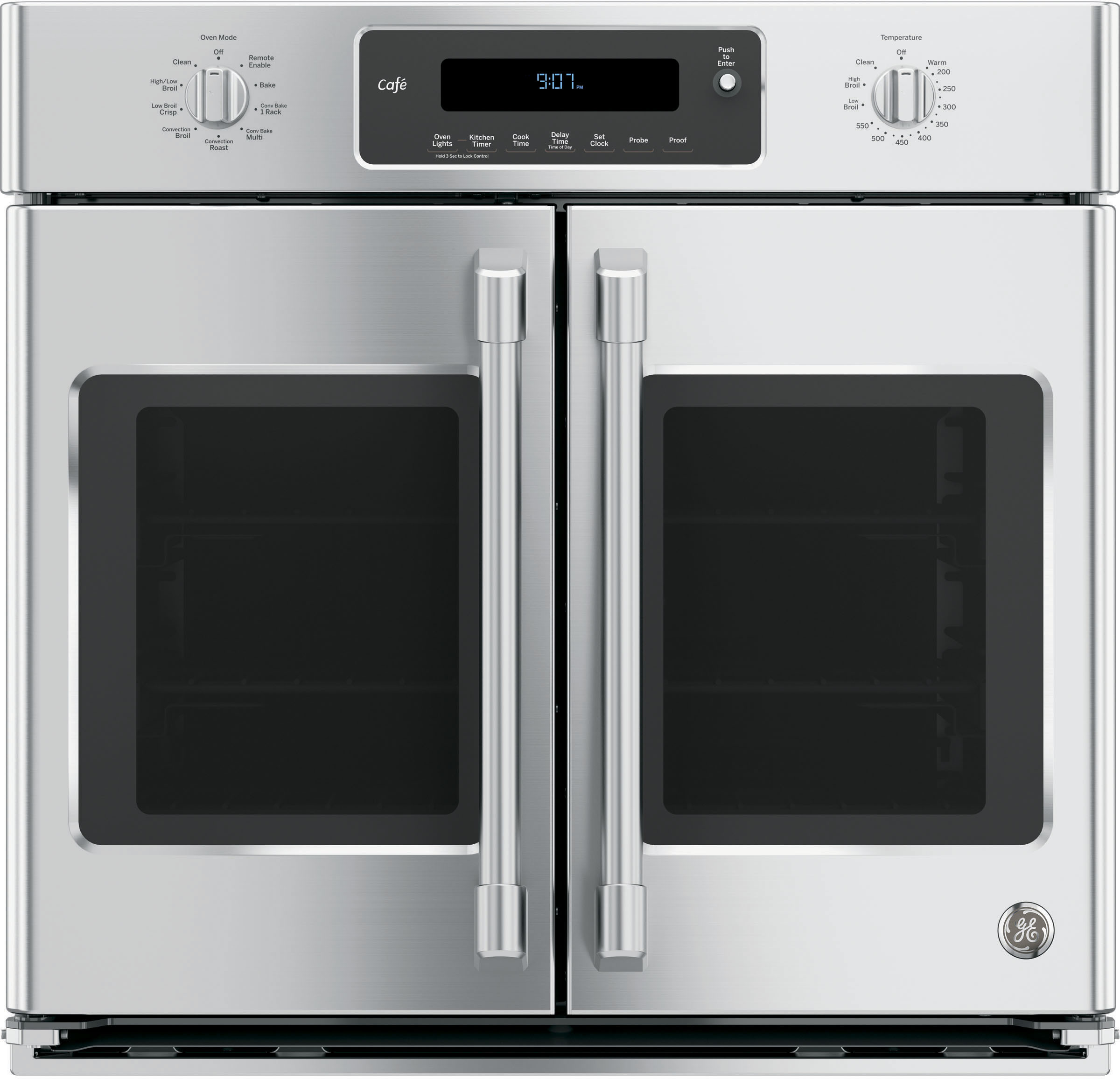 ge ct9070shss 30 inch single french door electric wall oven with 5 0 cu  ft  true european