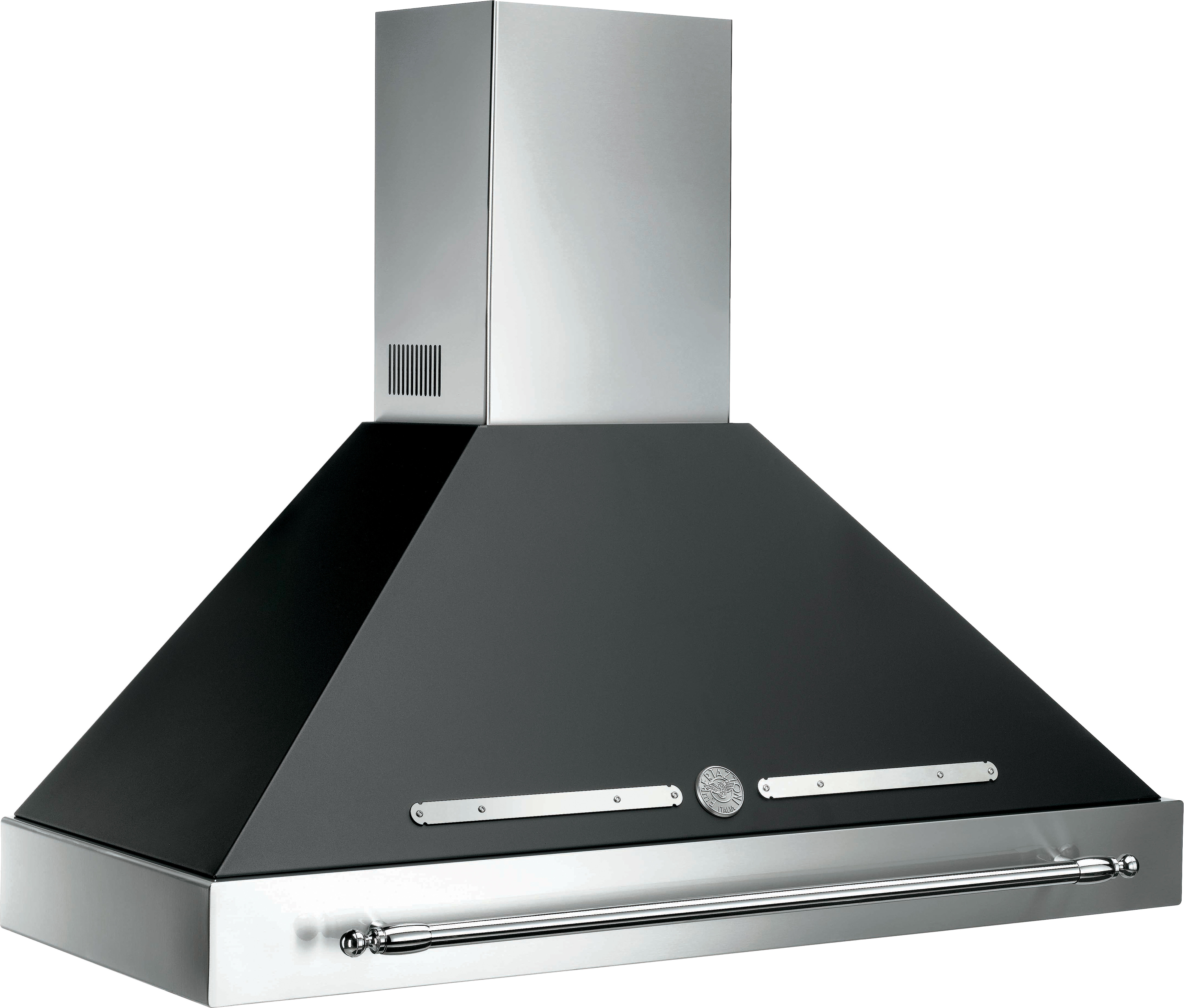 Black Chimney Style Range Hoods ~ Bertazzoni k herx inch canopy and base range hood