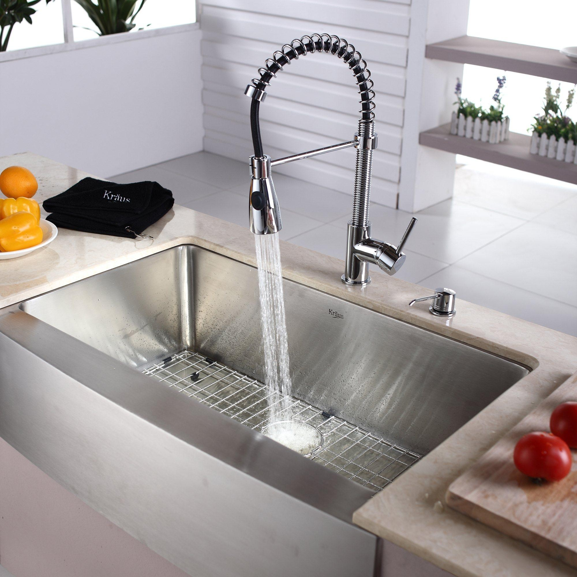 kraus khf20033kpf1612ksd30ch 33 inch farmhouse single bowl kohler farmhouse sink and faucet kitchen design